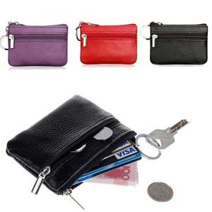 Faux Leather Key Chain Card Holder